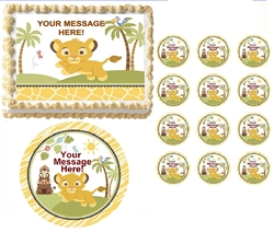 Lion SWEET CIRCLE OF LIFE First Birthday Baby Shower Edible Cake Topper Frosting Sheet - All Sizes!