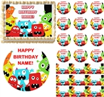 Cute Red LITTLE MONSTERS Edible Cake Topper Image Frosting Sheet Cake Cupcakes NEW