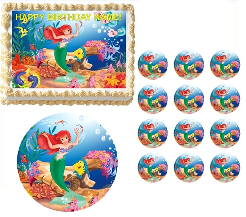 Little Mermaid Ariel Edible Cake Topper Frosting Sheet All Sizes