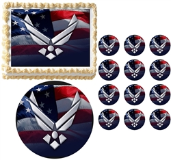 United States AIR FORCE Military Edible Cake Topper Frosting Sheet - All Sizes!