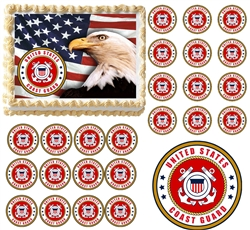 United States COAST GUARD Emblem Logo Military Edible Cake Topper Frosting Sheet - All Sizes!