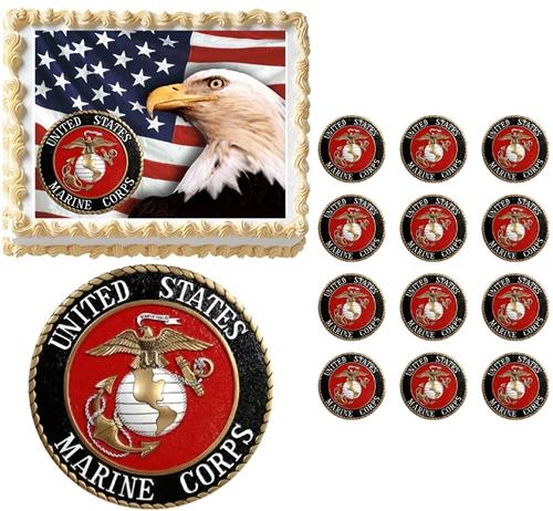 united states marine corps seal eagle military edible cake topper