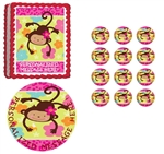 MOD Monkey Love First Birthday Baby Shower Edible Cake Topper Frosting Sheet - All Sizes!