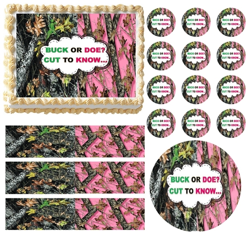 Mossy Oak Pink Mossy GENDER REVEAL Buck Doe Edible Cake Topper Frosting Sheet
