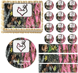 Mossy Pink Mossy WEDDING BUCK DOE Edible Cake Topper Frosting Sheet - All Sizes!