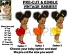PRE-CUT Ruffle Pants Afro Puffs Baby Girl EDIBLE Cake Topper Image Sneakers