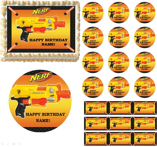 Nerf Gun Wars Edible Birthday Cake Cupcake Toppers Party Decorations