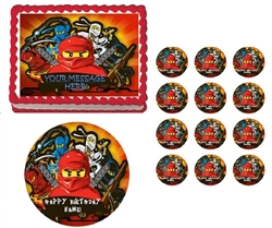 Ninjago Ninjas Banner Edible Cake Topper Frosting Sheet - All Sizes!
