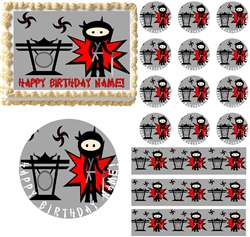 Ninja Theme Ninjas Edible Cake Topper Image Frosting Sheet - All Sizes!