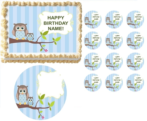 WHOOS Blue Boy Owl First Birthday Baby Shower Edible Cake Topper