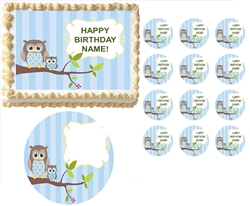 Look WHOO'S Blue Boy Owl First Birthday Baby Shower Edible Cake Topper Frosting Sheet - All Sizes!