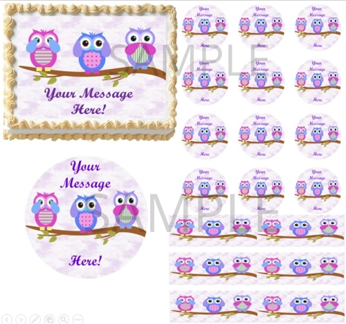 Owl Other Baking Accessories Edible Cake Frosting Sheet Topper