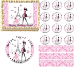 Pink and White PARIS Damask LADY POODLE Eiffel Tower Edible Cake Topper Image Frosting Sheet - All Sizes!