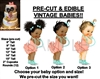 PRE-CUT Peach Mint Aqua Ruffle Pants Baby EDIBLE Cake Topper Image Afro Puffs