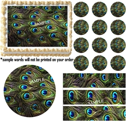 PEACOCK FEATHERS Print Edible Cake Topper Image-Great for Weddings! Many sizes!