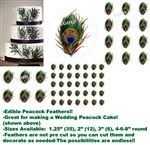 Individual PEACOCK FEATHER Print Edible Cake Topper Image-Great for Weddings!