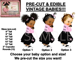 PRE-CUT 50's Pink Ladies Pink Black Poodle Skirt Baby EDIBLE Cake Topper Image