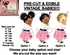 PRE-CUT 50's Pink Ladies Pink Poodle Skirt Baby EDIBLE Cake Topper Image