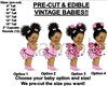 PRE-CUT Pink Ladybug Wings Afro Puffs Bun Baby EDIBLE Cake Topper Image Wings