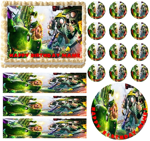 Plants Vs. Zombies Garden Warfare Edible Cake Topper Frosting Sheet   All  Sizes!
