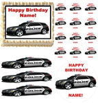 POLICE CAR Rescue Vehicles Party Edible Cake Topper Frosting Sheet - All Sizes!