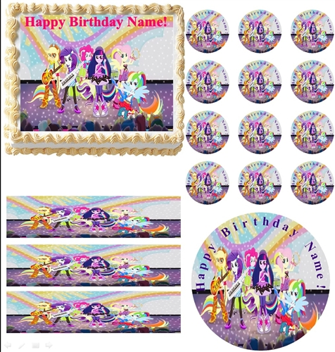 My Little Pony Equestria Girls RAINBOW ROCKS Edible Cake Topper Frosting Sheet All Sizes