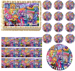 My Little Pony Equestria Girls RAINBOW ROCKS Characters Edible Cake Topper Image