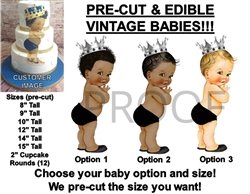 PRE-CUT Little Prince Silver Crown Black Diaper EDIBLE Cake Topper Image Prince