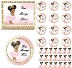 Pink Gold Dark Skin Ballerina Princess EDIBLE Cake Topper Image Baby Shower Afro