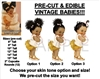 PRE-CUT Ivory and Gold Vintage Baby Girl EDIBLE Cake Topper Image Afro Puffs