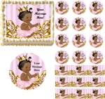 Vintage Dark Skin Princess Baby Edible Cake Topper Image Cupcakes Baby Shower Cake Ideas