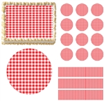 PICNIC BLANKET RED WHITE CHECKERED Print Edible Cake Topper Image Frosting Sheet