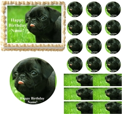 Pug Dog Edible Cake Topper Image Cake Decoration Cupcakes Pug Puppy Cake Edible