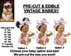 PRE-CUT Sitting Princess Pink Purple Ruffle Pants EDIBLE Cake Topper Image Baby