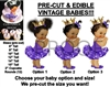PRE-CUT Purple Princess Ballerina Gold Crown Baby Girl EDIBLE Cake Topper Image