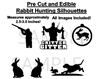 Rabbit Hunting Hunter Edible Pre Cut Stickers, Hunting Decals for Cakes, Hunting Cut Outs, Rabbit Hunting Cake, Rabbit Hunting Silhouettes