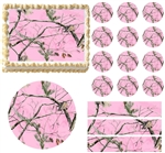 Pink REALTREE REAL TREE Pink Mossy Camo Edible Cake Topper Frosting Sheet - All Sizes!