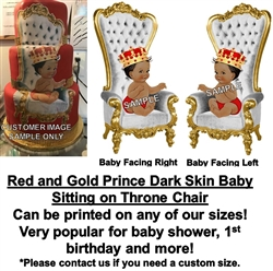 Red and Gold Dark Skin Prince Throne Chair EDIBLE Cake Image Prince Baby Cake
