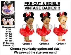 PRE-CUT Red and White Mouse Ears Vintage Baby Girl EDIBLE Cake Topper Image Tutu