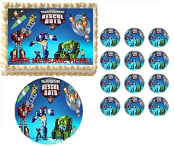 Transformers Rescue Bots Characters Edible Cake Topper Frosting Sheet - All Sizes!