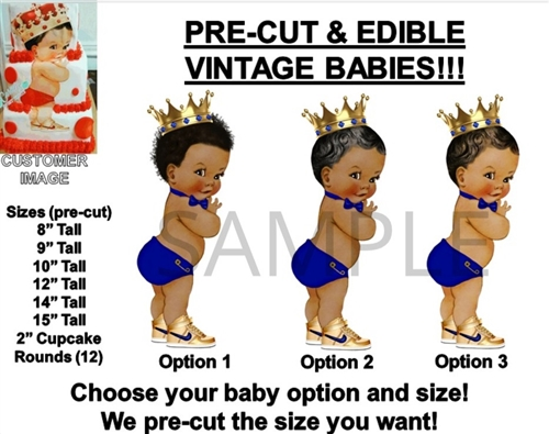 Kitchen, Dining & Bar Cheap Price Pre-cut Royal Blue And Gold Princess Baby Girl Edible Cake Topper Image Tutu Special Summer Sale Baking Accs. & Cake Decorating