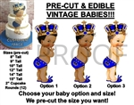 PRE-CUT Royal Blue Little Prince Studded Gold Crown Baby EDIBLE Cake Topper Image Tassel