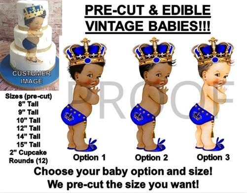 pre cut royal blue little prince studded gold crown baby edible cake