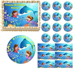 UNDER THE SEA DOLPHIN Snorkeling Edible Cake Topper Image Frosting Sheet