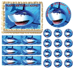 SHARK ATTACK Shark Party Edible Cake Topper Frosting Sheet Image-ALL SIZES! NEW