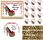 Bachelorette HIGH HEEL SHOE Cheetah Theme Edible Cake Topper Image Frosting Sheet - All Sizes!