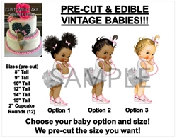 Silver and Pink Dark Skin Afro Puff Baby Edible Cake Image Baby Shower Cake Cute