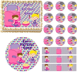 Slumber Party GIRL Sleep Over Theme  Edible Cake Topper Frosting Sheet - All Sizes!