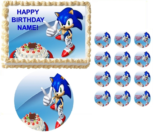 Sonic The Hedgehog Pointing Party Edible Cake Topper Frosting Sheet All Sizes