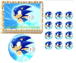 Sonic the Hedgehog Running Edible Cake Topper Frosting Sheet - All Sizes!
